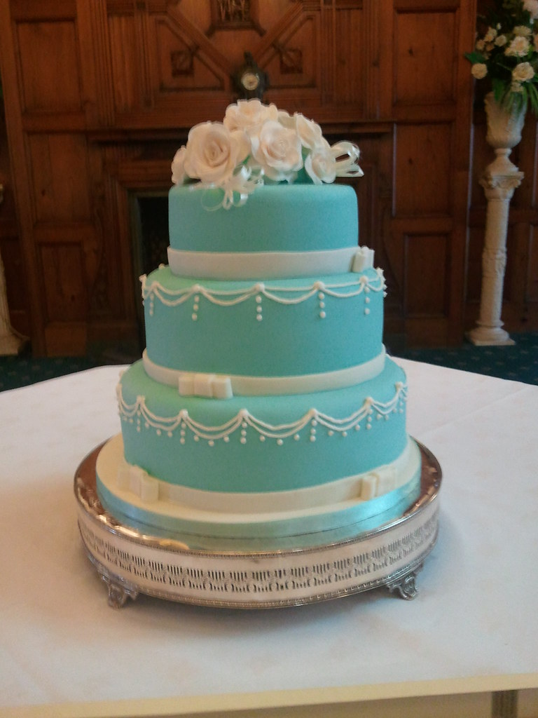 tiffany blue wedding 3 Tier Tiffany Blue wedding cake with hand made sugar roses by NattyCakes1