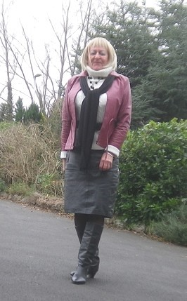 open leather skirt and boots