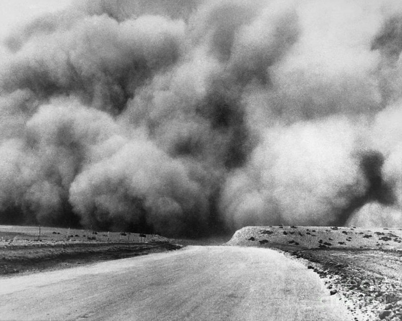 In this 1935 photo, a cloud of top soil lumbers across the road near Boise City, Oklahoma. Astonishingly, the cloud of dust is so large, it extends past the frame of the photo.