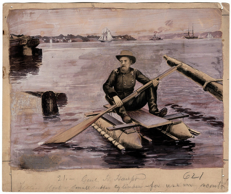 Russell, Andrew J.; Brigadier General Herman Haupt On a Scout Boat.