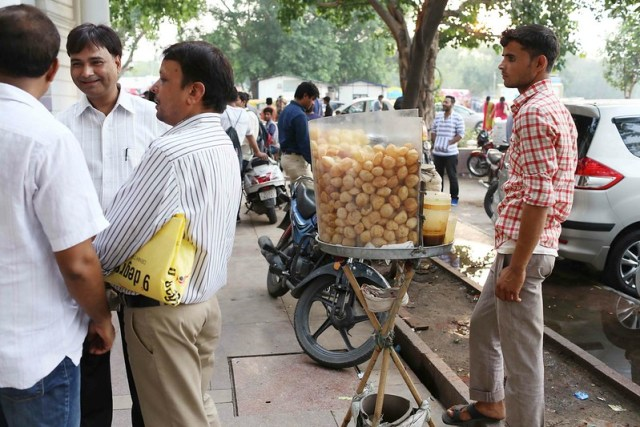 City Food - The Archaeology of a Pavement Golgappa Stall, Connaught Place