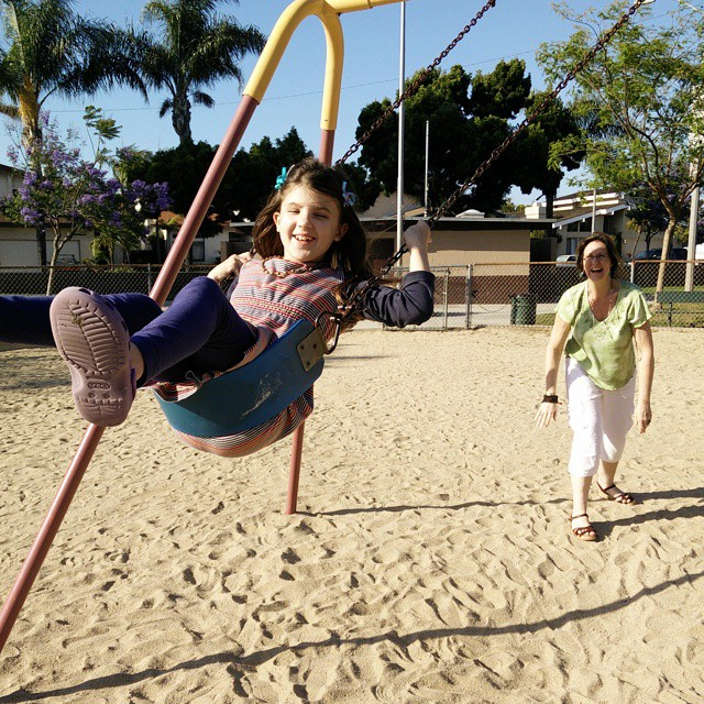 The best things in life are free! I love the look on my mom's face as she pushes my girls on the swings... :-)