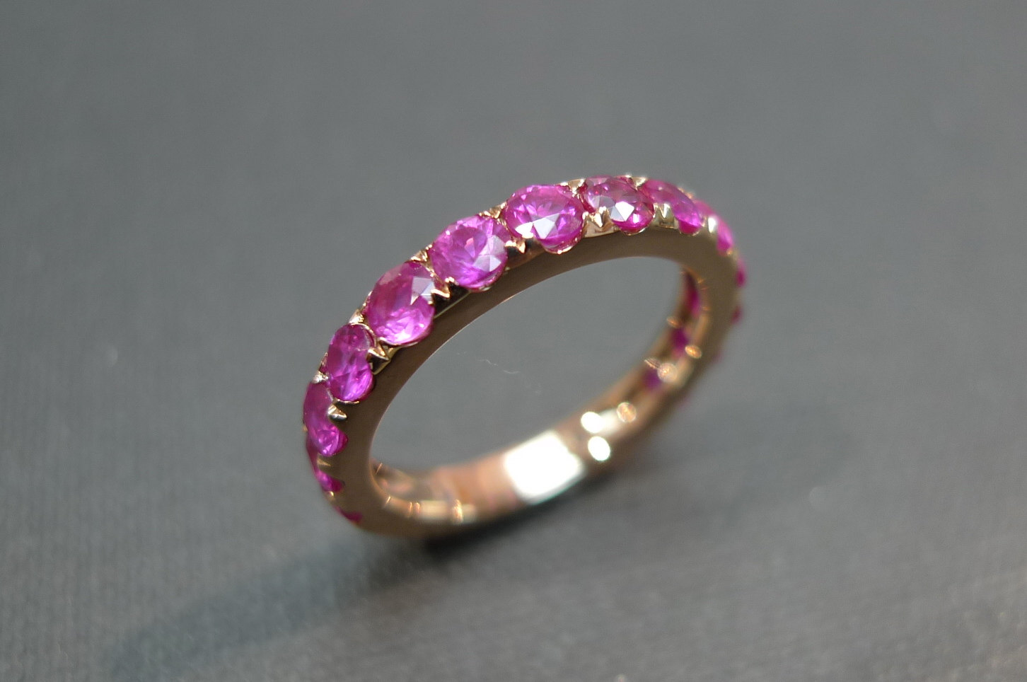 pink sapphire wedding band ring in 18k rose gold sapphire wedding bands Pink Sapphire Wedding Band Ring in 18K Rose Gold