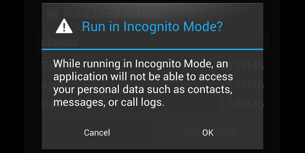 Android Privacy Incognito Mode