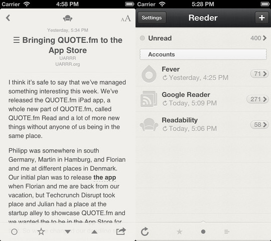 Reeder Update Feedly