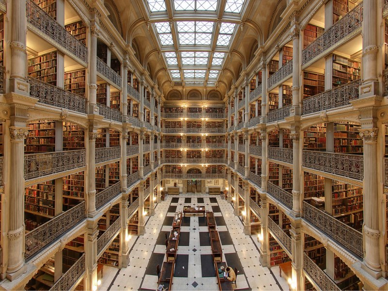 Interior of the George Peabody Library in Baltimore. Image credit Matthew Petroff.