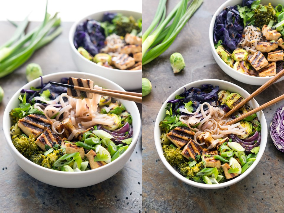 Grilled Tofu Miso Noodle Soup! Delicious, easy, and great for a weeknight meal! #glutenfree #vegan