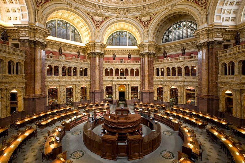 Main Reading Room of the Library of Congress in the Thomas Jefferson Building.