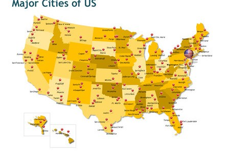 major cities of the us   map showing the major cities of
