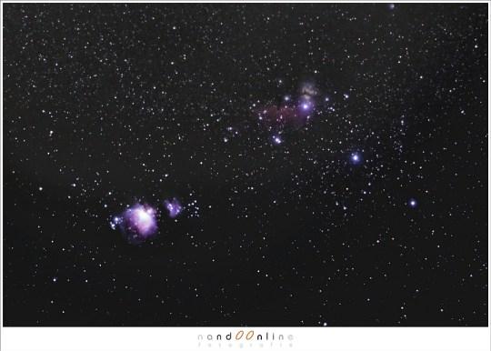 De wintermaanden geeft een kans om de Orion Nevel op de foto te zetten. Het vergt wat werk, oefenen, maar als het uiteindelijk lukt is het een voldoening. (127 opnames, 3,2sec elk, stacked in DSS - f/2 - ISO3200 - 135mm brandpunt)