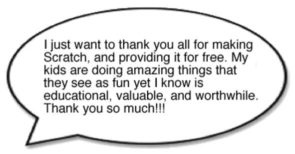 Lời cảm ơn từ phụ huynh cho công cụ Scratch