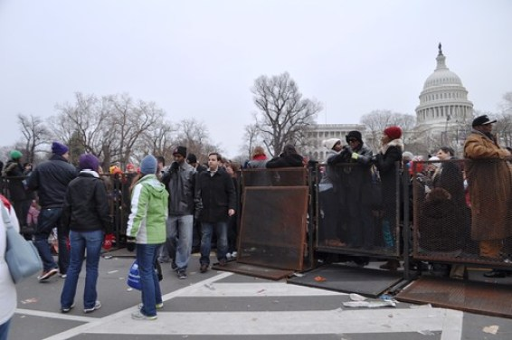 Following President Obama's Swearing In, Attendees in the Orange Ticket Area Remove a Fence Panel to Exit, Washington, D.C., Jan. 21, 2013