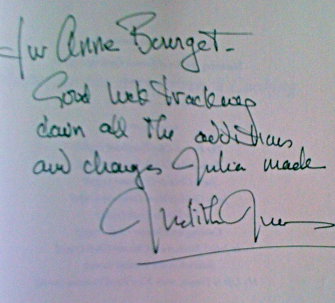 note from Julia Child editor Judith Jones