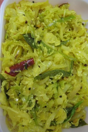 Cabbage Thoran, a southern Indian cole slaw recipe