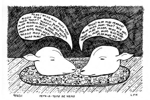 Tete-a-tete de veau drawing by L. John Harris
