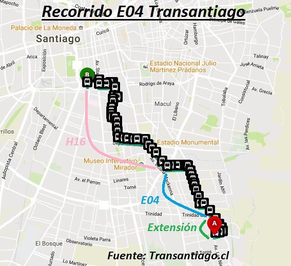 Recorrido E04 Transantiago