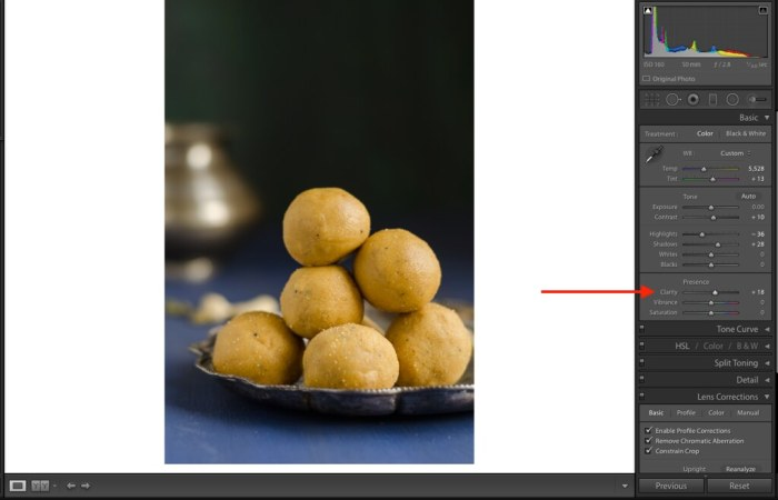 Clarity, Lightroom Tutorial for Food photos, Lightroom tutorial, Editing RAW files in Lightroom,  Lightroom Food Tutorial, How to edit food photos in Lightroom,