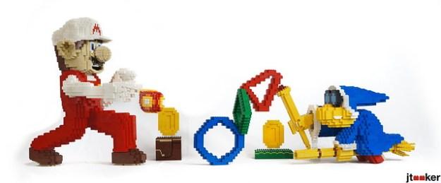 Fire Mario and Magikoopa in LEGO