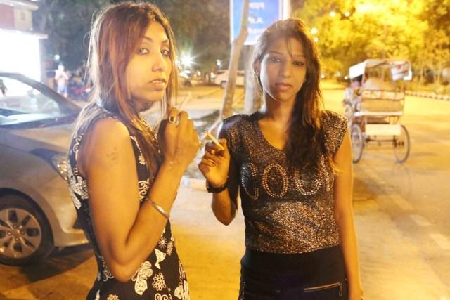 City Moment - Two Women Bikers in Late Night Delhi,  Bhishma Pitamah Marg