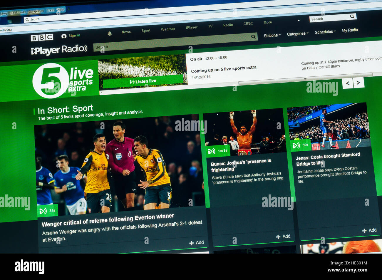 The website of BBC Radio 5 Live Sports Extra Stock Photo  129253424     The website of BBC Radio 5 Live Sports Extra