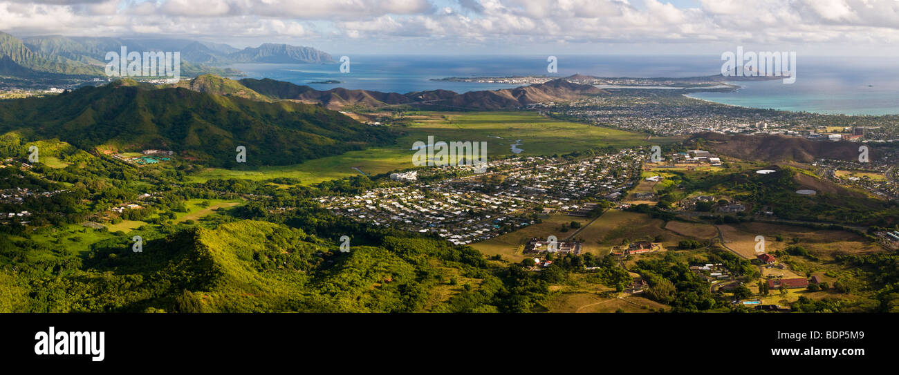 Panoramic view of the Windward side of Oahu island  Hawaii Stock     Panoramic view of the Windward side of Oahu island  Hawaii