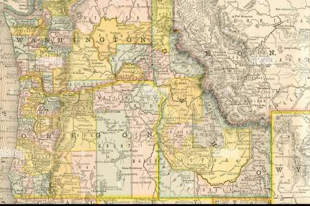 original old map of northwest united states from 1884