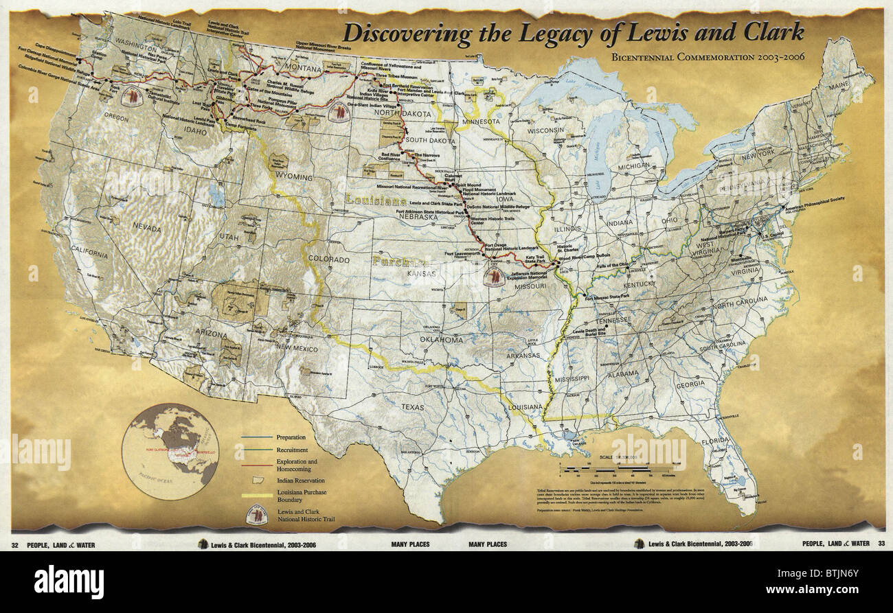 2003 map published for the bicentennial commemoration of the Lewis     2003 map published for the bicentennial commemoration of the Lewis and  Clark Expedition  Legend includes preparation  recruitment  exploration and