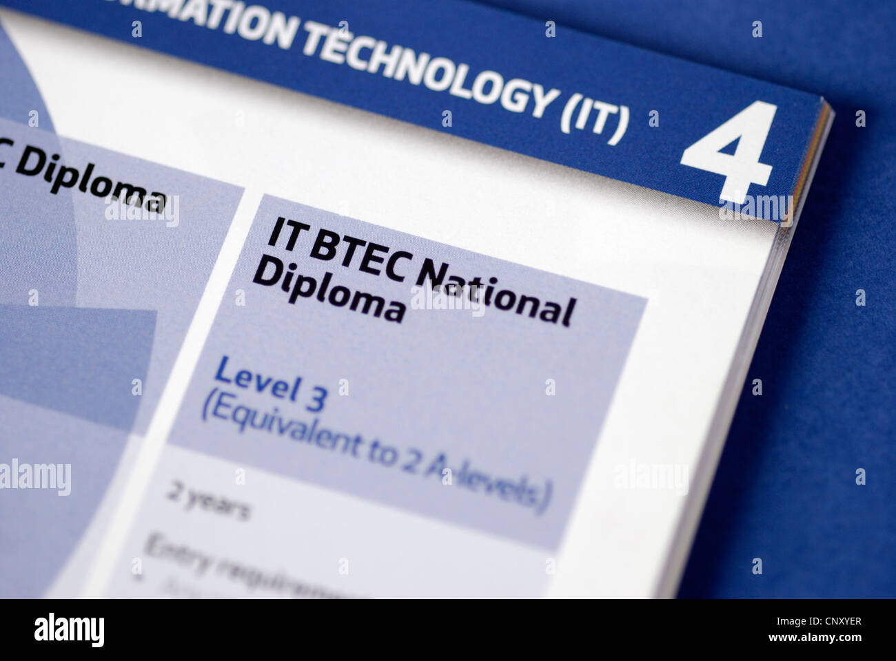 IT BTEC National Diploma   Level 3   listed in a course guide Stock     IT BTEC National Diploma   Level 3   listed in a course guide