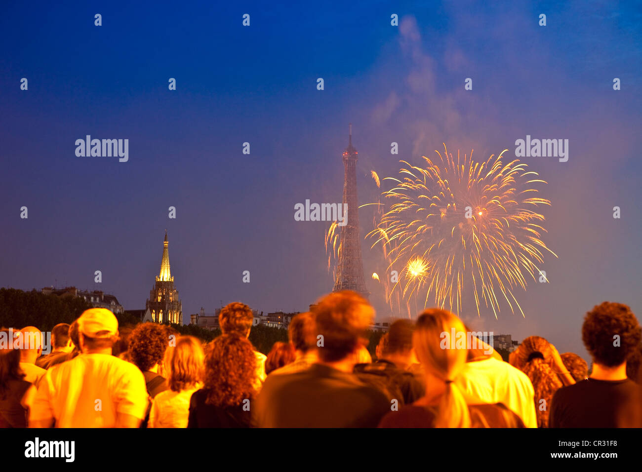 Bastille Day France Crowd Stock Photos   Bastille Day France Crowd     France  Paris  Bastille Day 2009 Fireworks   Stock Image