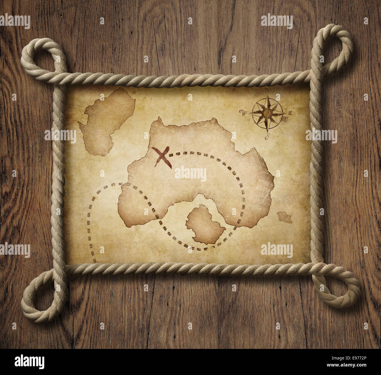 Pirate Map Stock Photos   Pirate Map Stock Images   Alamy Pirate theme nautical rope frame with old treasure map   Stock Image