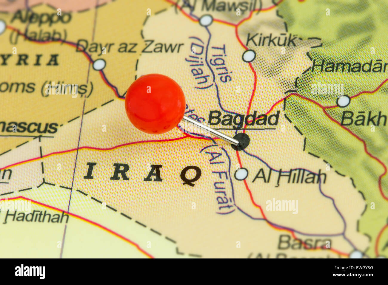 Close up of a red pushpin on a map of Baghdad  Iraq Stock Photo     Close up of a red pushpin on a map of Baghdad  Iraq