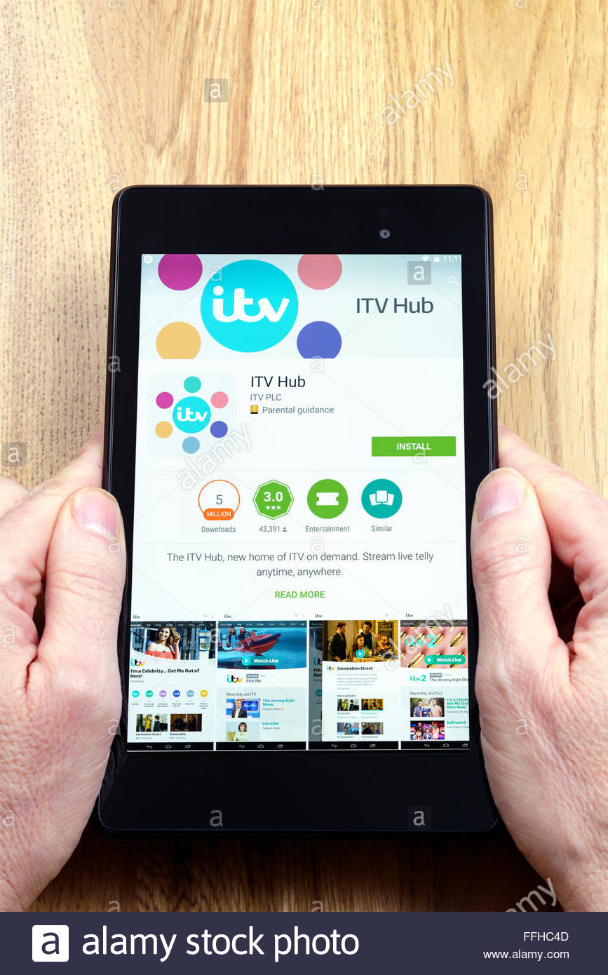ITV on demand app  ITV Hub  on an android tablet PC  Dorset  England     ITV on demand app  ITV Hub  on an android tablet PC  Dorset  England  UK