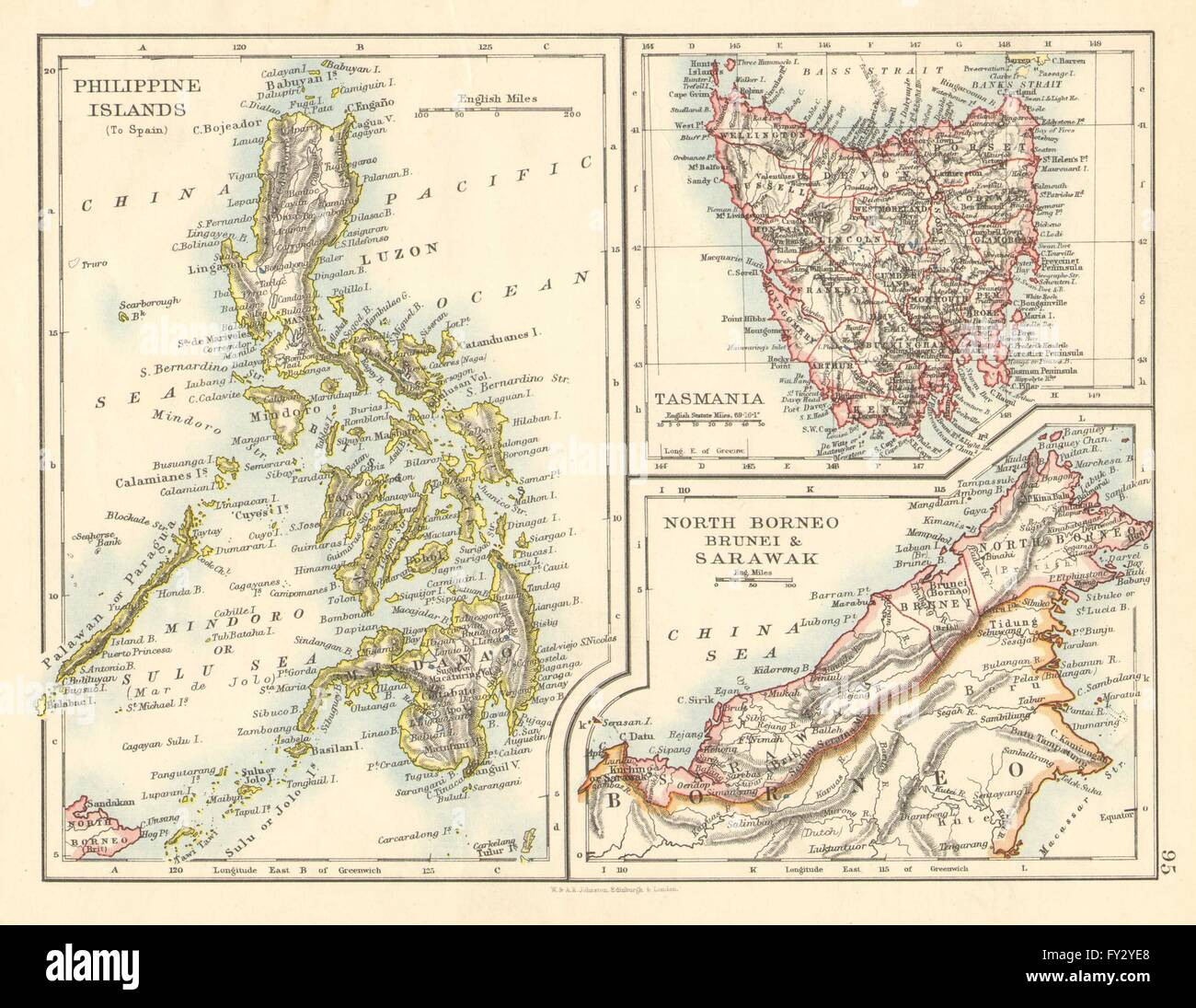 EAST ASIA  Philippines Tasmania North Borneo Brunei Sarawak Stock     Philippines Tasmania North Borneo Brunei Sarawak  JOHNSTON  1899 map