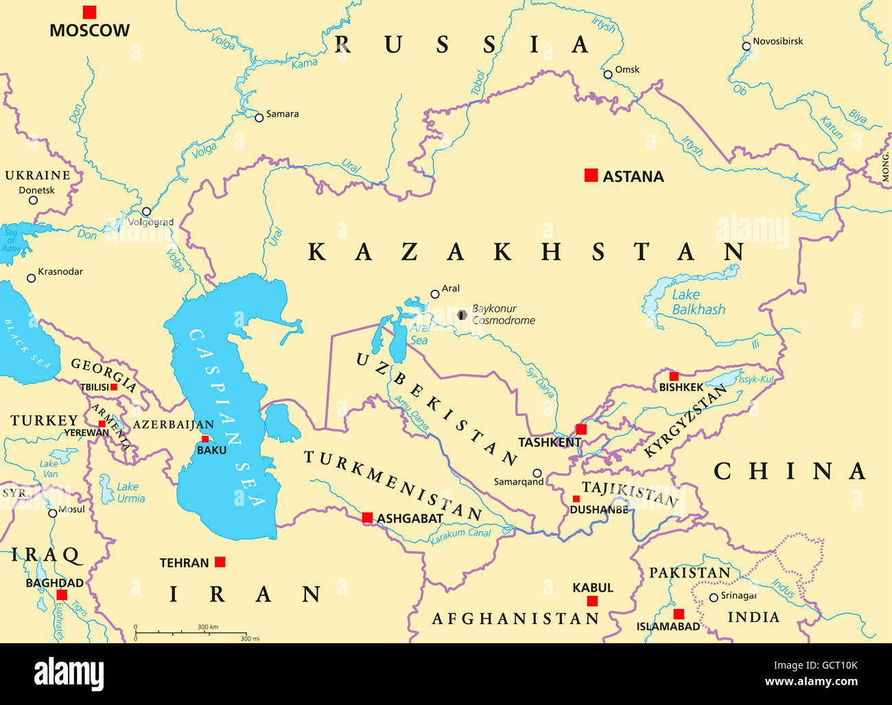 ... Caucs And Central Asia Political Map With Countries Their Capitals  Gct10k ...