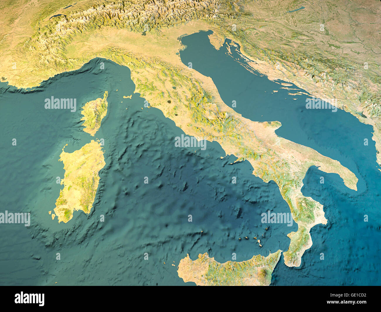Italy  physical map  satellite view  map  3d rendering Stock Photo     Italy  physical map  satellite view  map  3d rendering