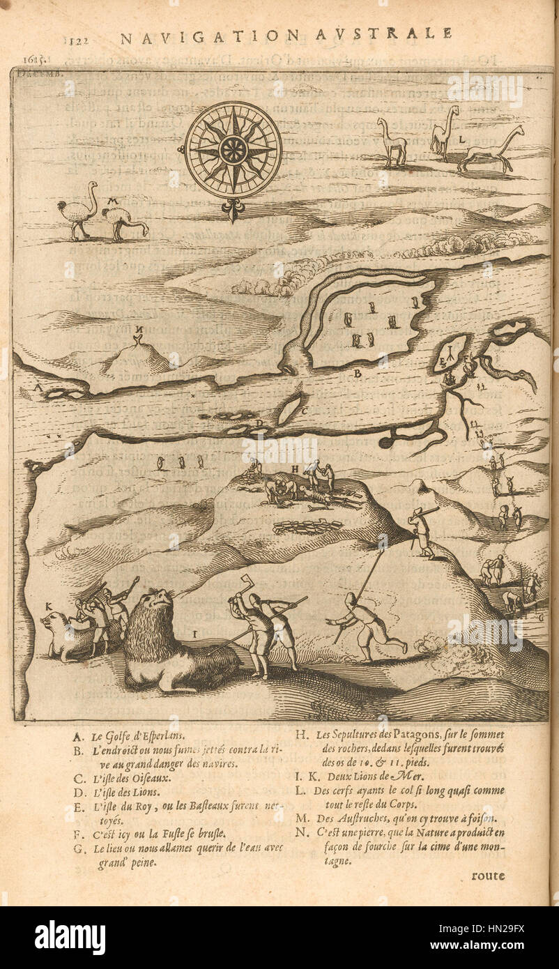 Strait Of Magellan Map Stock Photos   Strait Of Magellan Map Stock     Map of the Strait of Magellan Developed by the Schouten and Le Maire  Expedition  1616