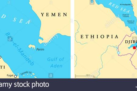 bab el mandeb political map strait between yemen on arabian peninsula jdrj95