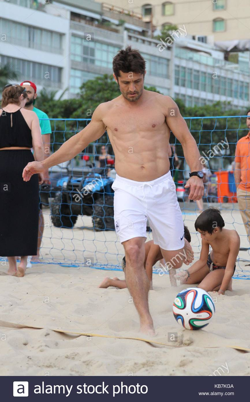 Bixente Lizarazu  Bixente Lizarazu shirtless on the beach in Ipanema     Bixente Lizarazu  Bixente Lizarazu shirtless on the beach in Ipanema  playing footvolley with former French footballer Christian Karambeu and  Aresenal coach