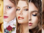 Collage. Set of Women's Faces with Various Colorful Makeup
