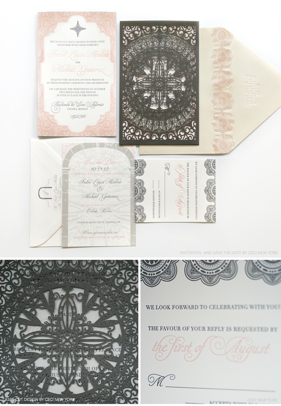 v our muse dreamy mexican wedding indra michael part 1 michaels wedding invites Luxury Wedding Invitations by Ceci New York Our Muse Dreamy Mexican Wedding Be