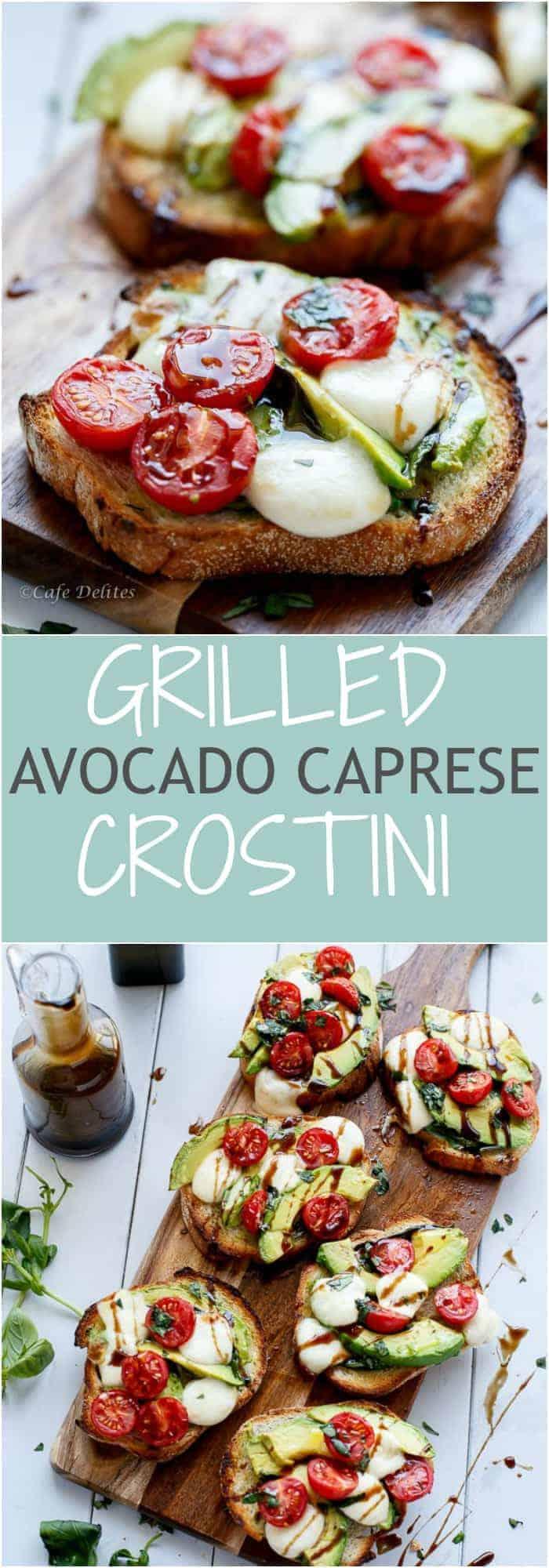 Grilled Avocado Caprese Crostini Collage | http://cafedelites.com