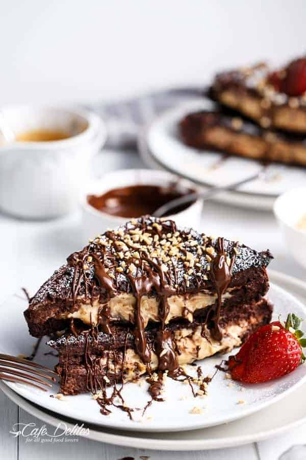 Peanut Butter Cheesecake Stuffed Chocolate Brownie French Toasts