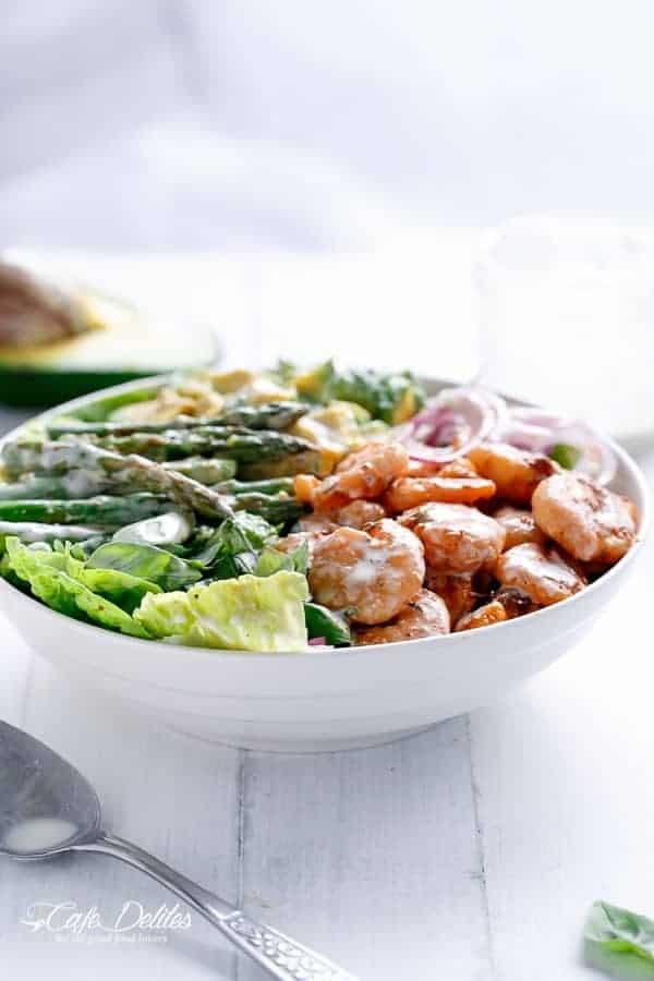 Blackened Shrimp, Asparagus and Avocado Salad with Lemon Pepper Yogurt ...