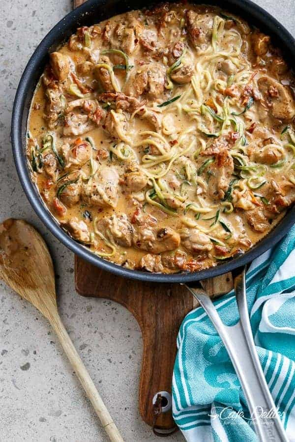 Creamy Sundried Tomato + Parmesan Chicken Zoodles | http://cafedelites ...