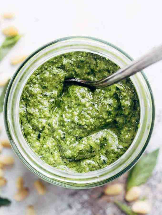Fresh, homemade basil pesto is way better than any store bought pesto, with a flavour-packed punch! All you need is 5 ingredients and a food processor!   http://cafedelites.com