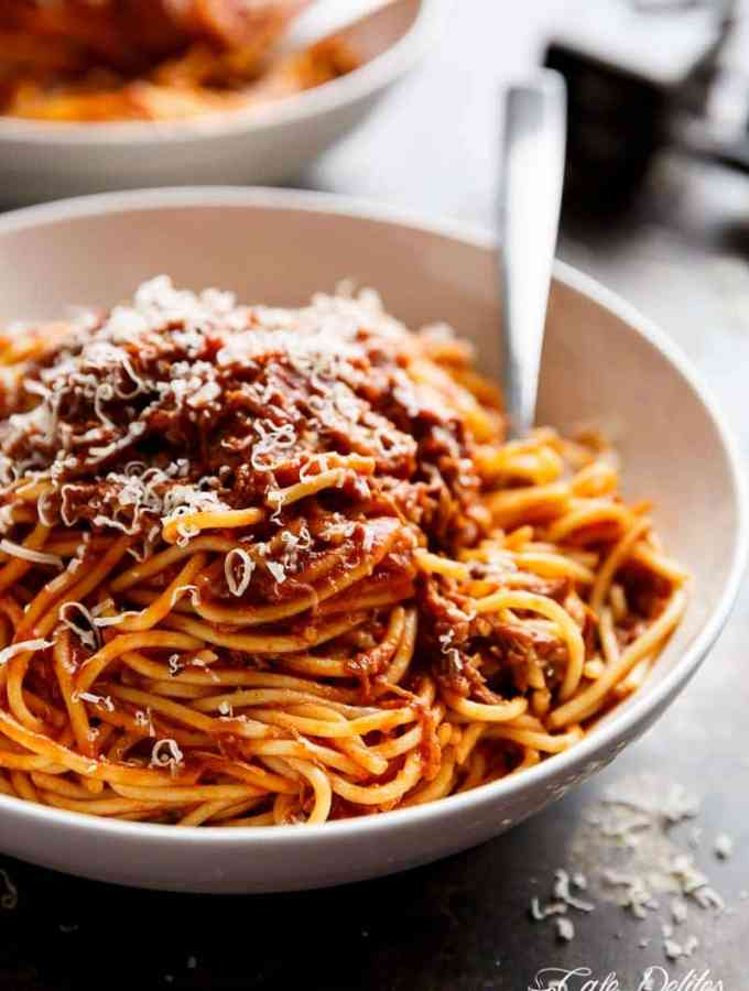 Slow Cooker Beef Ragu is a rich and tender, fall-apart tomato beef sauce. With all the magic happening in your slow cooker, come home to a satisfying, ready-made home cooked dinner!   http://cafedelites.com