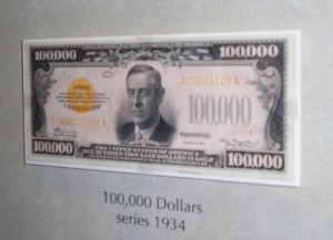 Picture of $100,000.00 bill with Woodrow Wilson