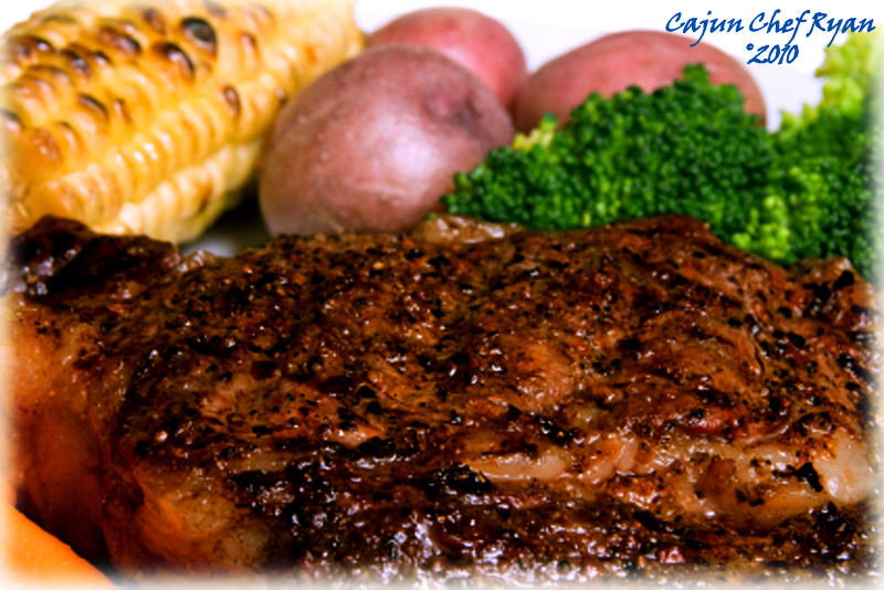 Cajun Blackened Rib Roast Steak is served