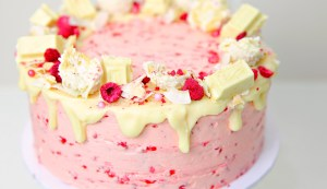 White Chocolate Coconut Mud Cake with Raspberry Buttercream