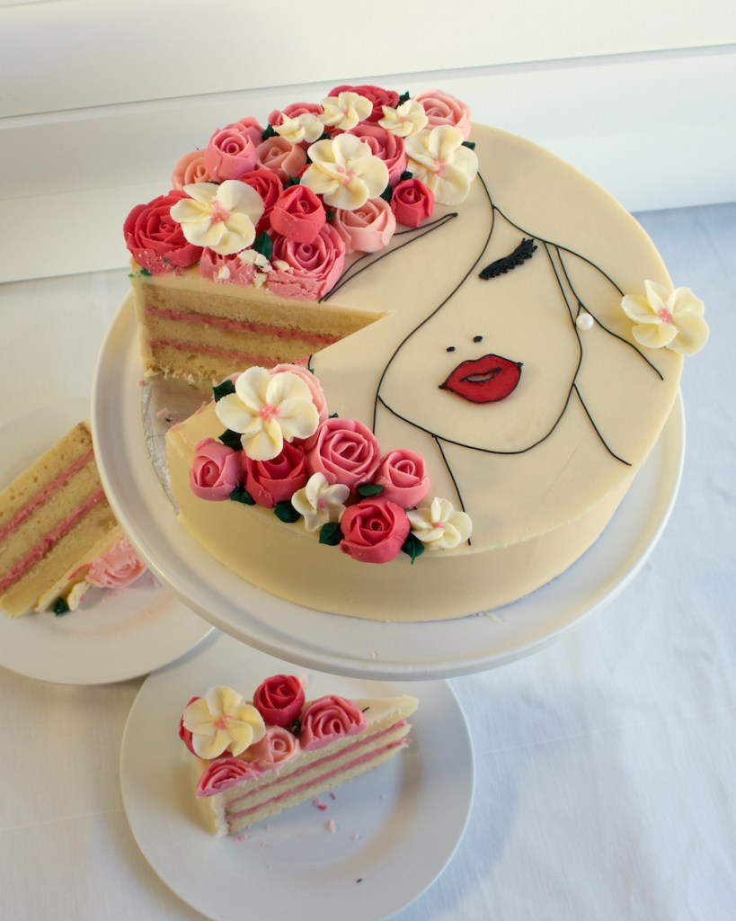 Floral Face Cake plated